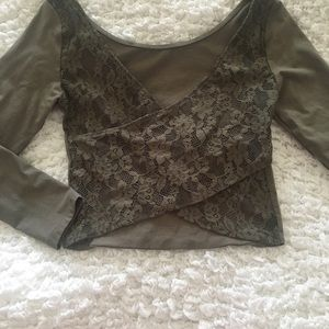 American Eagle Outfitters Olive Green Top